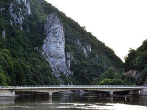 Statue of Decebalus, on the banks of Danube, Romania