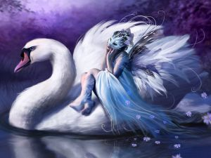 Fairy mounted on a swan