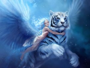 Fairy hugging a big white tiger