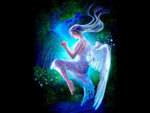 Fairy meditating in suspension