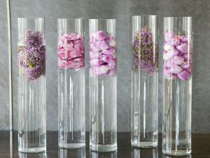 Glass tubes with flowers