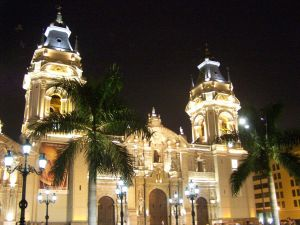 The Cathedral of Lima illuminated at night, Peru