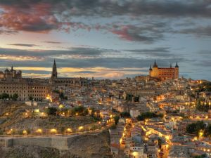 Sunset in the city of Toledo, Spain