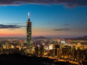 Night in Taipei, on the northern tip of the island of Taiwan, China