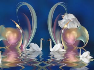 Digital composition with swans