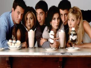 The actors in the series Friends sharing a milkshakes