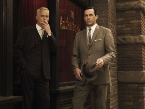 "Don Draper (Jon Hamm) and Roger Sterling (John Slattery), in the TV series ""Mad Men"""