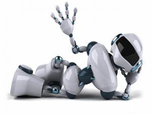 Robot lying and saluting