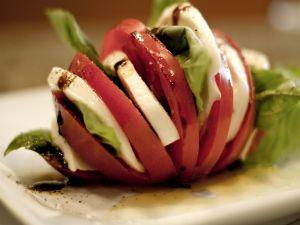 Caprese salad, mozzarella, tomato and basil