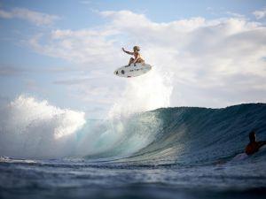 Big jump on a surfboard