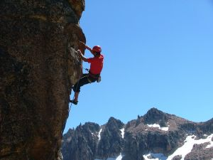 Climbing in a rock wall