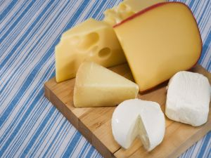 Table with assorted cheeses