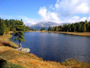 Schwarzsee Lake, on the mountain range Nockberge (Austria)