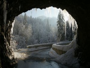 The road from Dornbirn to the village of Ebnit (Austria)