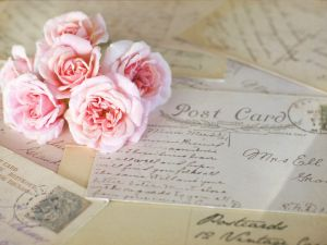 Letters and a bouquet of roses