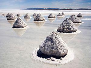 Mounds of salt in the Salar de Uyuni, Bolivia