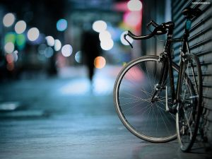 Lonely bike in the city
