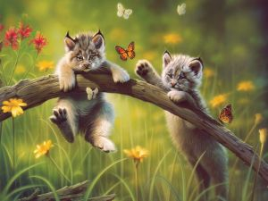 Cats playing with butterflies