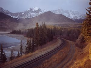 Railroad line next to Athabasca River, at the mouth of Brule Lake (Alberta, Canada)