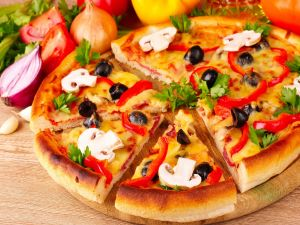 Pizza with sliced ​​mushrooms