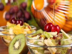 Fruit salad with kiwi and cherries