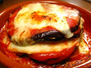 Eggplant with tomato and melted cheese