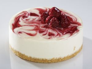 Cheesecake with raspberry swirls