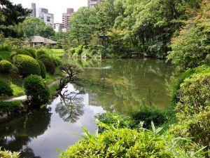 Shukkei-en, a historic Japanese garden in Hiroshima, Japan