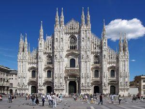 Facade of the Duomo in Milan, Italy