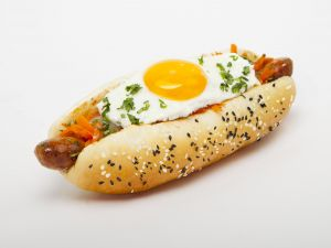 Hot dog with fried egg