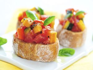 Diced vegetables over bread slices
