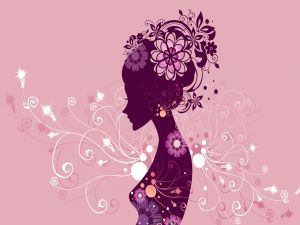 Silhouette of woman flowered