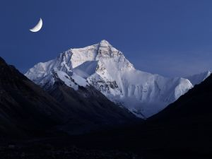 The moon over Mount Everest