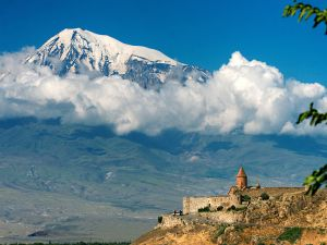 Khor Virap Monastery, with Mount Ararat in background (Armenia)