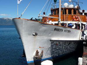 """The """"Modesta Victoria"""" moored at the dock of the Península de Quetrihué (Argentina)"""