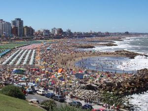 Beaches of La Perla (Punta Iglesias) in full summer season (Argentina)