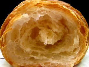 The inside of a croissant