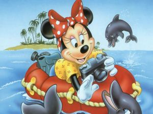 Minnie playing with dolphins