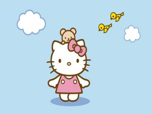 Hello Kitty and two yellow birds