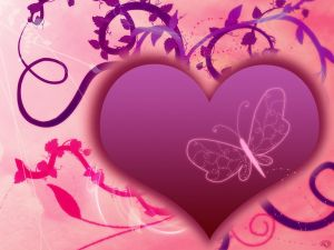 Purple heart with a butterfly