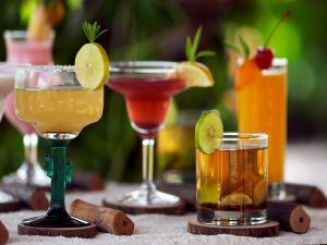 Cocktails of different flavors and colors