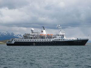 "The ""Clipper Adventurer"" on the outskirts of Ushuaia (Argentina)"