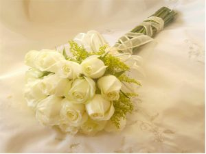 Bridal bouquet with white roses