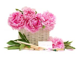 Basket with peonies and a declaration of love