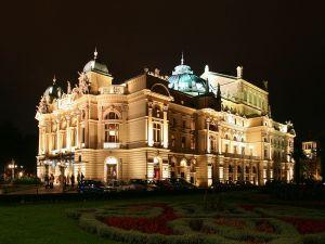 Juliusz Slowacki Theatre in Kraków (Poland) by night