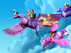 Barbie characters in winged horses