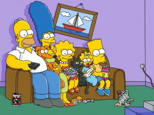 The Simpson family in the living room couch