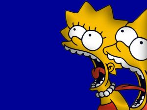 Lisa and Bart Simpson screaming