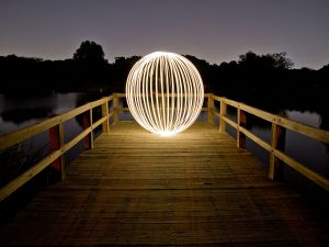 Sphere of light at night