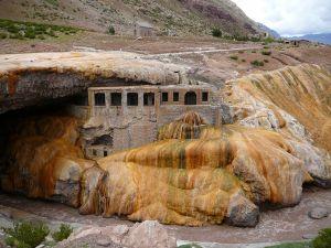 """Hotel """"Puente del Inca"""" (abandoned in 1965) in Mendoza, Argentina"""